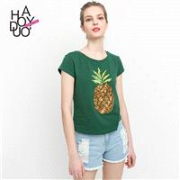 2017 summer dress new fashion fruit pattern sequins short sleeved crew neck T-Shirt - Bonny YZOZO Bo