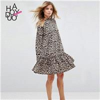 Oversized Vogue Printed Leopard Fall Casual 9/10 Sleeves Dress - Bonny YZOZO Boutique Store