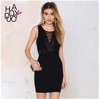 Exquisite vintage perspective Eyelash lace stitching deep v Halter dresses with tight hip - Bonny YZ