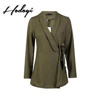 Vogue Attractive Slimming V-neck One Color Fall Tie Casual 9/10 Sleeves Coat - Bonny YZOZO Boutique