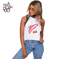Must-have Simple Printed Split Front Sleeveless Alphabet Cherry Summer T-shirt - Bonny YZOZO Boutiqu