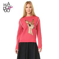 Vogue Printed Scoop Neck Long Sleeves Cartoon Deer Knitted Sweater Sweater - Bonny YZOZO Boutique St