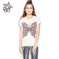 2017 winter women's wear new casual Butterfly print fashion tassel short t shirt - Bonny YZOZO Bouti