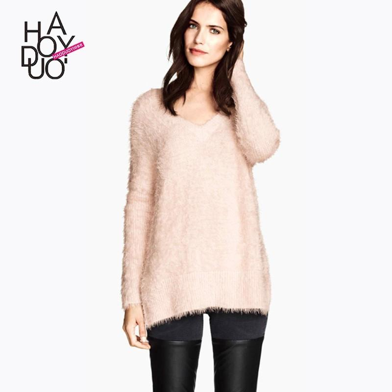 My Stuff, Ladies fall 2017 new sweater v neck side slit pullover women - Bonny YZOZO Boutique Store