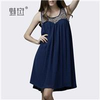 New summer and put a solid color t cut fold long sleeveless vest plus size chiffon dress - Bonny YZO