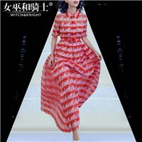2017 summer new fashion doll collar sleeve bow-tie printed long dress - Bonny YZOZO Boutique Store