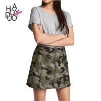 School Style Must-have Vogue Camouflage Zipper Up Summer Skirt - Bonny YZOZO Boutique Store