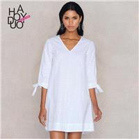 Must-have Oversized Simple V-neck 3/4 Sleeves Summer Dress - Bonny YZOZO Boutique Store