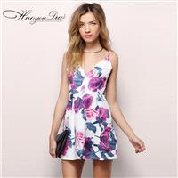 Vogue Open Back Printed V-neck Sleeveless High Waisted Floral Strappy Top Dress Skirt - Bonny YZOZO