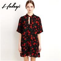 Ladies summer dress new style floral chiffon dress long sweet clean short sleeve floral print skirt