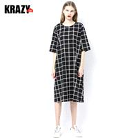 Comfortable cotton loose cut chequered dress with long sleeves in summer 7536 - Bonny YZOZO Boutique