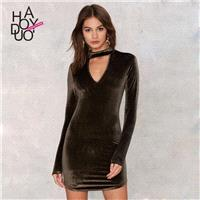 Vogue Sexy Hollow Out Low Cut High Neck Fall 9/10 Sleeves Dress - Bonny YZOZO Boutique Store