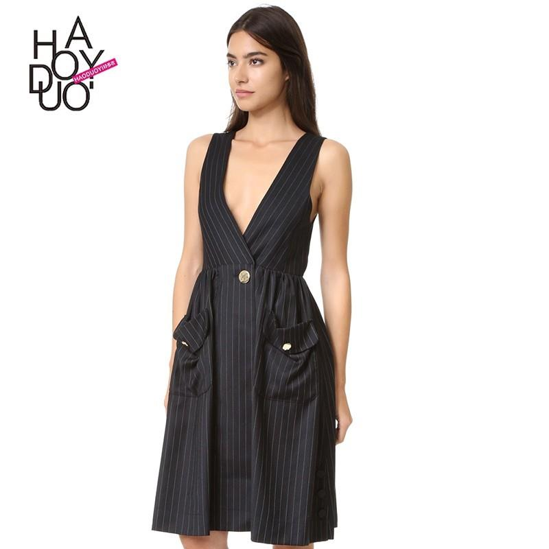 My Stuff, Vogue Sexy Low Cut Pocket Summer Stripped Dress - Bonny YZOZO Boutique Store