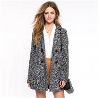 Must-have Vogue Slimming Polo Collar Double Breasted Wool 9/10 Sleeves Overcoat Coat - Bonny YZOZO B