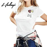 Must-have Vogue Simple Printed Slimming Scoop Neck Summer T-shirt - Bonny YZOZO Boutique Store