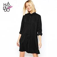 Must-have Oversized Vogue Simple One Color Summer 9/10 Sleeves Blouse Dress - Bonny YZOZO Boutique S
