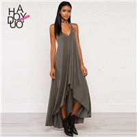 2017 summer New Women's Sexy V-neck Backless loose big hem strap dress - Bonny YZOZO Boutique Store