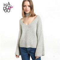 Oversized Vogue Sexy Flare Sleeves V-neck Summer Sweater - Bonny YZOZO Boutique Store