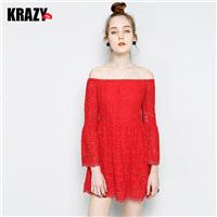 Flare Sleeves Bateau Lace Dress - Bonny YZOZO Boutique Store