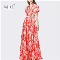 Beach Style Slimming Polo Collar Floor Length Floral Holiday Dress Beach Dress Dress - Bonny YZOZO B
