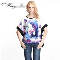Ethnic Style Oversized Printed Frilled Sleeves Curvy Batwing Sleeves Scoop Neck Ink Paint T-shirt -