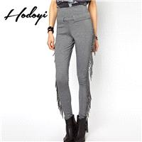 Must-have Vogue Fringe Slimming Accessories One Color Fall Casual Tight Long Trouser - Bonny YZOZO B