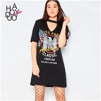 Vogue Printed Alphabet Summer Casual Black Dress T-shirt - Bonny YZOZO Boutique Store