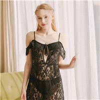 Slimming Lace Black Strappy Top Pajama Sleepy Dress - Bonny YZOZO Boutique Store