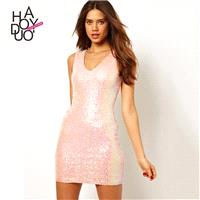 Vogue Sexy Slimming V-neck Sleeveless Sequined Fall Dress - Bonny YZOZO Boutique Store