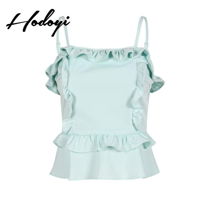My Stuff, Must-have Vogue Sexy Sweet Open Back Ruffle Slimming Agaric Fold Multi Layered One Color F