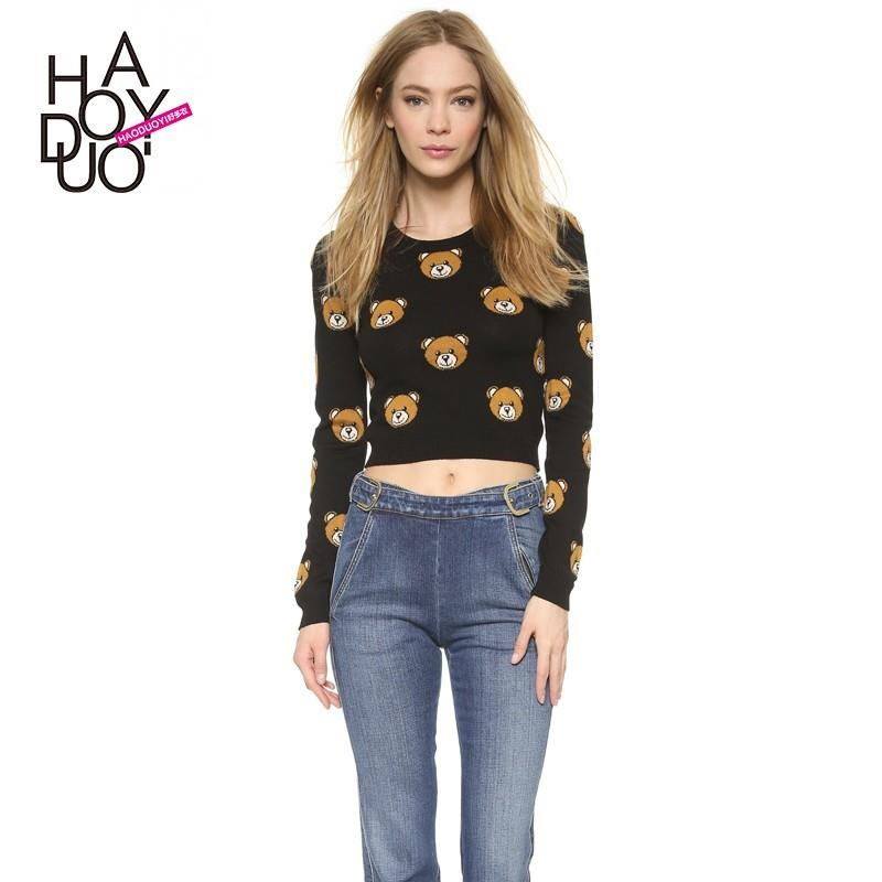 My Stuff, Jacquard Teddy Bear Cheerful 9/10 Sleeves Crop Top Knitted Sweater Sweater - Bonny YZOZO B