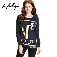Oversized Vogue Printed Scoop Neck Alphabet Spring Casual 9/10 Sleeves Hoodie - Bonny YZOZO Boutique