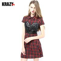 Mosaic PU leather stitching cotton Plaid corset shirt dress in summer - Bonny YZOZO Boutique Store
