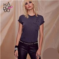 2017 spring new Vogue letters embroidery old Vogue ribbed slim fit T-Shirt - Bonny YZOZO Boutique St
