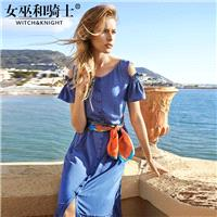 Slimming Flare Sleeves A-line Scoop Neck Summer Tie Blue Dress - Bonny YZOZO Boutique Store