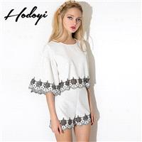 Vogue Embroidery Hollow Out High Waisted White Spring Short - Bonny YZOZO Boutique Store