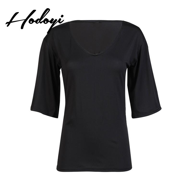 My Stuff, Must-have Oversized Vogue Simple Slimming 1/2 Sleeves One Color Summer T-shirt - Bonny YZO