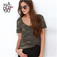 Street Style Sexy Army Slimming V-neck Summer Short Sleeves T-shirt Top - Bonny YZOZO Boutique Store