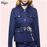 Vogue Slimming Polo Collar Long Sleeves Pocket Spring Coat - Bonny YZOZO Boutique Store