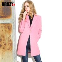 Brilliant pink wool coat slim smooth woolen coat 6875 - Bonny YZOZO Boutique Store