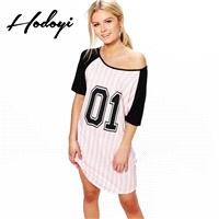 Must-have Vogue Printed Split Front Scoop Neck 1/2 Sleeves Number Summer Stripped Dress - Bonny YZOZ