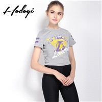Vogue Sport Style Printed Slimming Scoop Neck Alphabet Summer Casual Short Sleeves T-shirt - Bonny Y