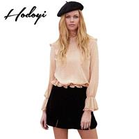 Vogue Sweet Hollow Out Accessories One Color Fall Frilled 9/10 Sleeves Blouse - Bonny YZOZO Boutique