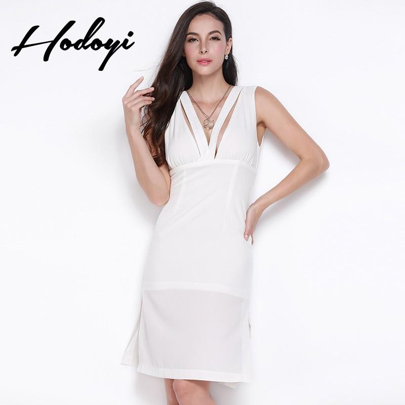My Stuff, Vogue Sexy Open Back Hollow Out V-neck Sleeveless Zipper Up One Color Spring Split Dress -