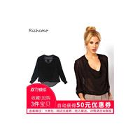 Must-have Oversized Sexy Seen Through V-neck Summer Casual 9/10 Sleeves Black Chiffon Top Top - Bonn