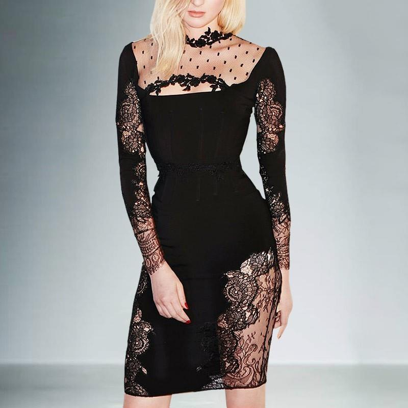 My Stuff, Vogue Sexy Seen Through Slimming Sheath It Girl Spring Lace Formal Wear Dress - Bonny YZOZ