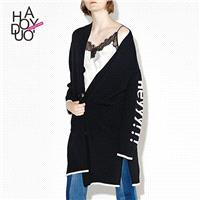 2017 spring new Vogue single breasted letter print Long Coat cardigan - Bonny YZOZO Boutique Store