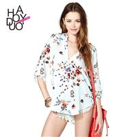 Clear fresh floral print long sleeve v neck blouse - Bonny YZOZO Boutique Store