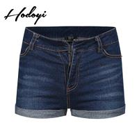 Must-have Vogue Simple Slimming High Waisted Pocket Cowboy One Color Summer Short - Bonny YZOZO Bout