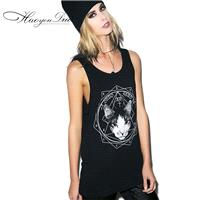 Oversized Printed Sleeveless Cat Geometry T-shirt - Bonny YZOZO Boutique Store